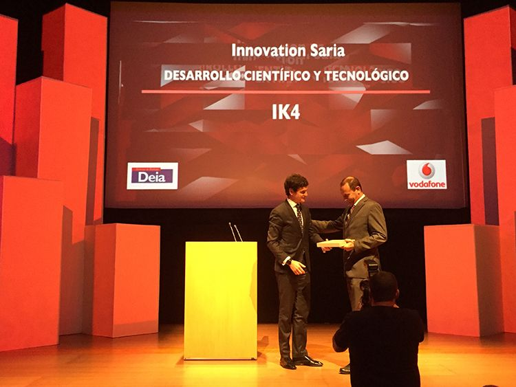 IK4 galardonado en los Innovation Sariak 2016 de Vodafone y Deia