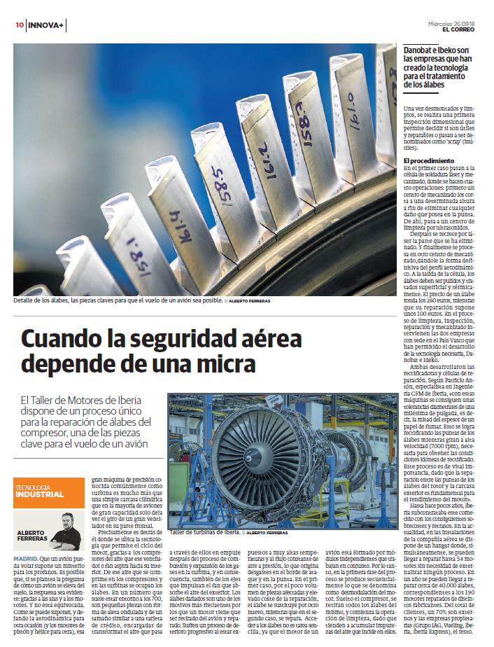 artículo enviado por Iberia sobre el proceso de recuperación de álabes
