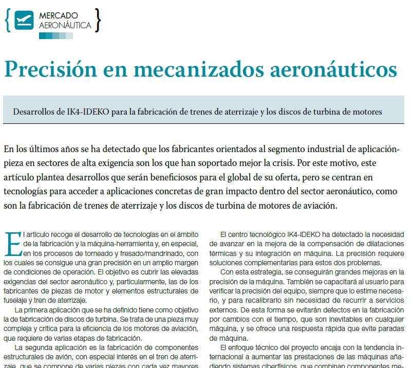 Precisión en mecanizados aeronáuticos